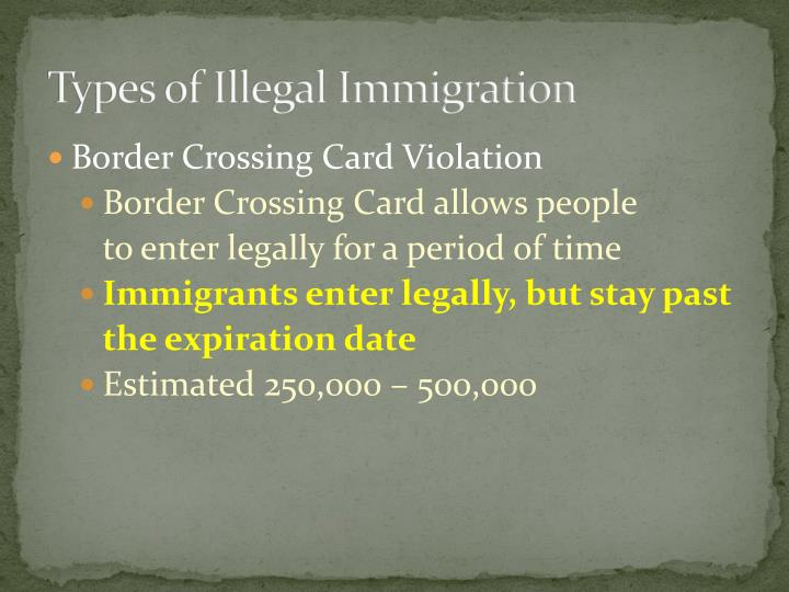 Types of Illegal Immigration