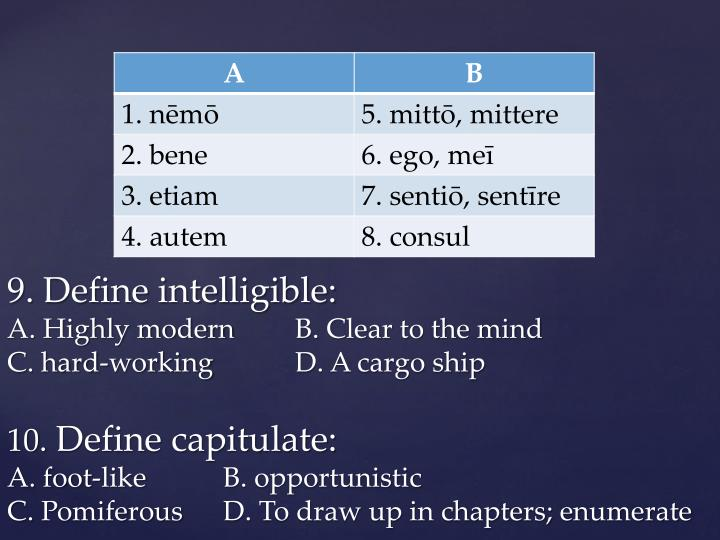 9. Define intelligible: