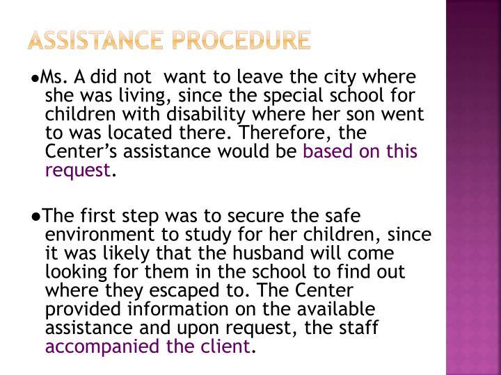 Assistance procedure