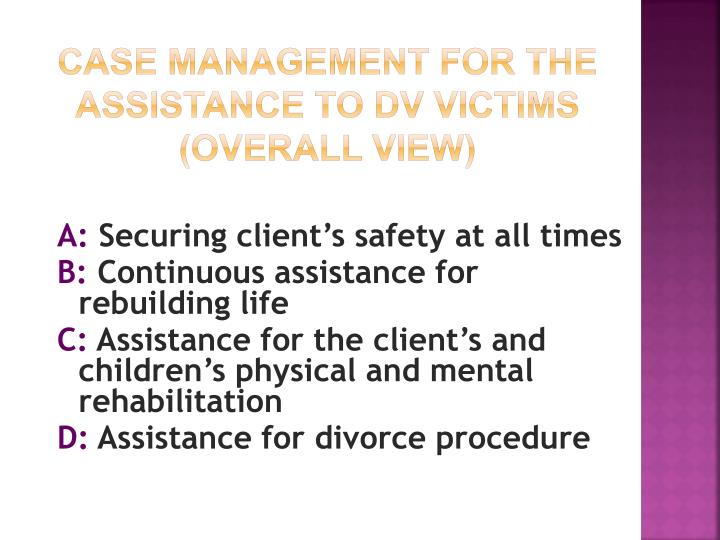 Case management for the assistance to DV victims (overall view)
