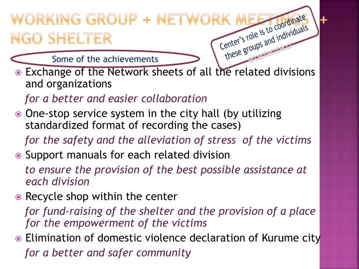 Working group + network meetings  + NGO shelter