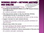 working group network meetings ngo shelter