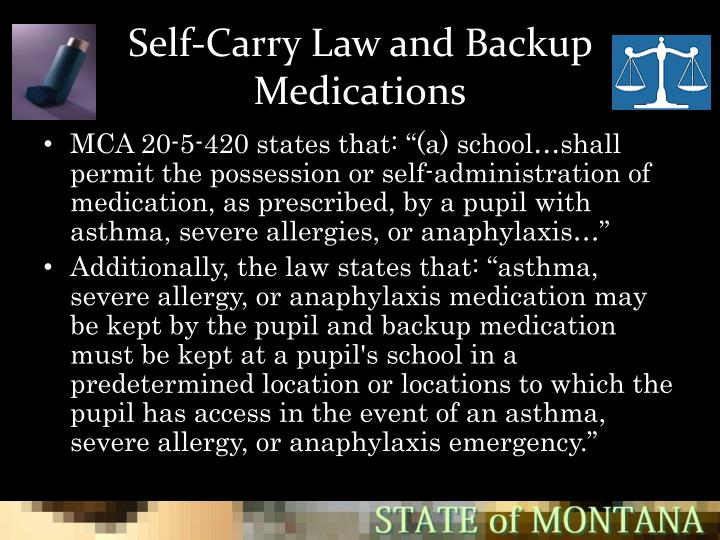Self-Carry Law and Backup Medications