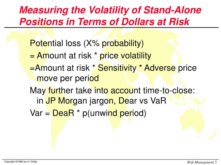 Measuring the Volatility of Stand-Alone Positions in Terms of Dollars at Risk