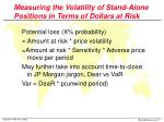 measuring the volatility of stand alone positions in terms of dollars at risk