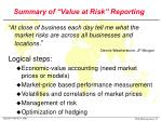 summary of value at risk reporting
