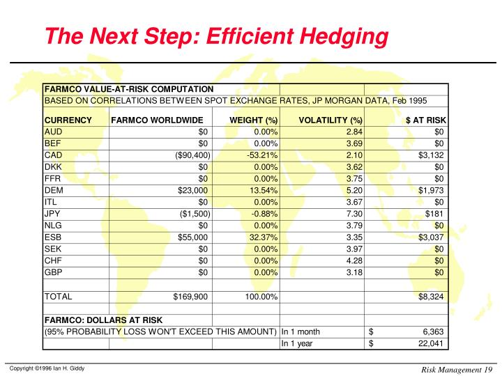 The Next Step: Efficient Hedging