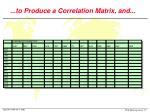 to produce a correlation matrix and