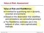 value at risk assessment