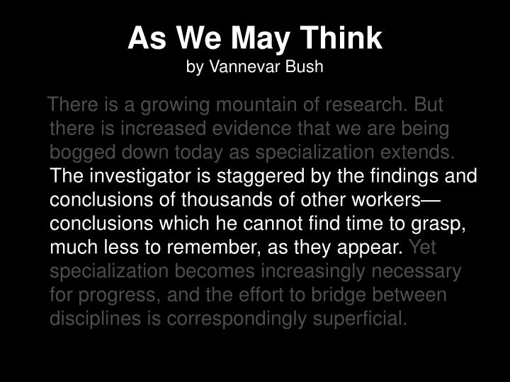 As we may think by vannevar bush