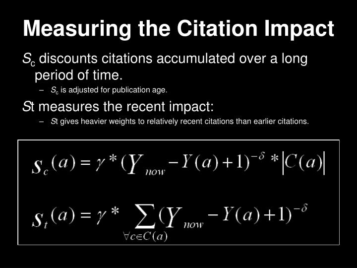 Measuring the Citation Impact