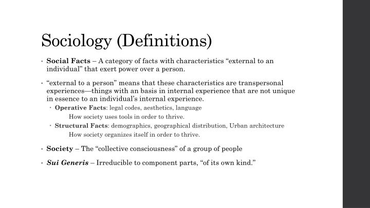 Sociology definitions