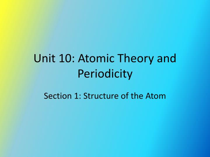 Unit 10 atomic theory and periodicity