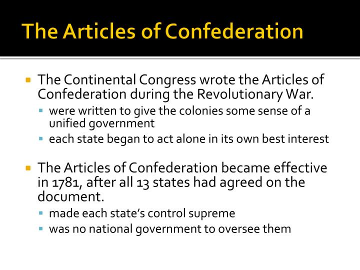 were the particular articles of confederation effective