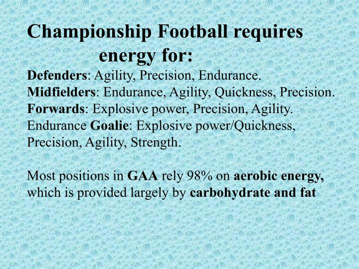 Championship Football requires