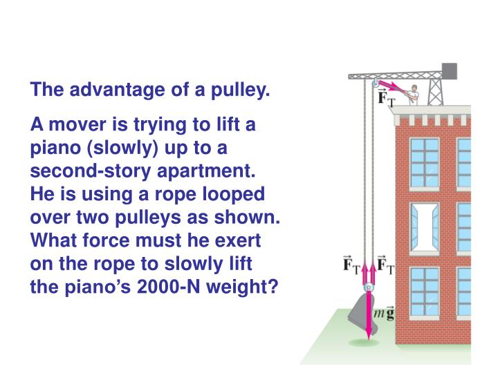 The advantage of a pulley.