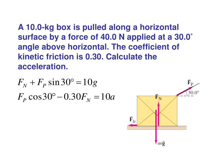 A 10.0-kg box is pulled along a horizontal surface by a force of 40.0 N applied at a 30.0° angle above horizontal. The coefficient of kinetic friction is 0.30. Calculate the acceleration.