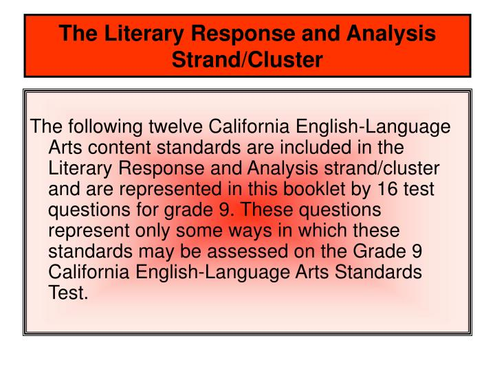 The literary response and analysis strand cluster