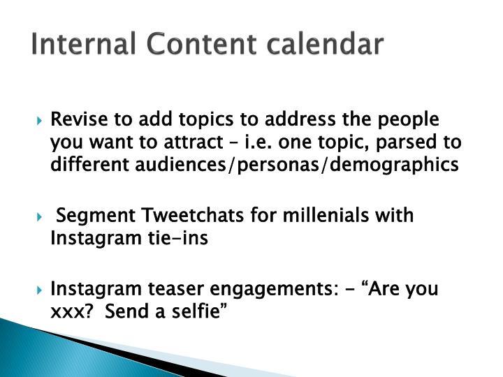 Internal Content calendar