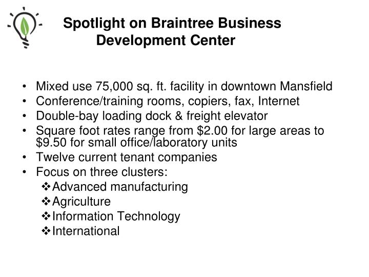 Spotlight on Braintree Business Development Center