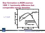 star formation vs agn sources 1000 luminosity difference but comparable energy densities