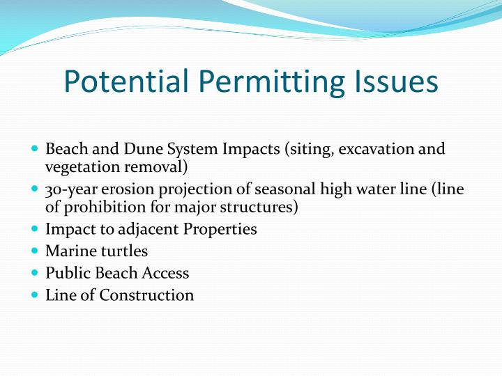 Potential Permitting Issues