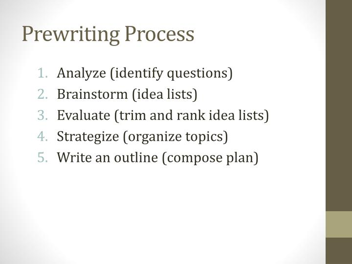 Prewriting process