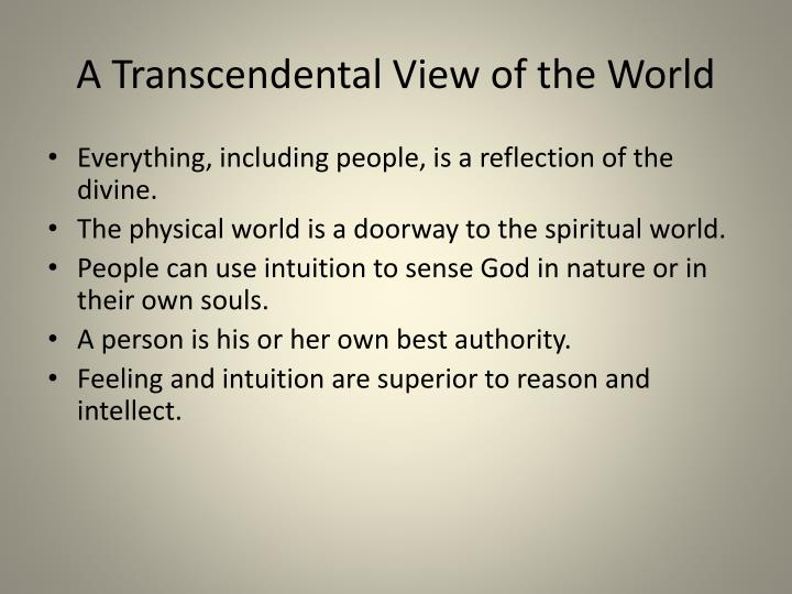 A Transcendental View of the World