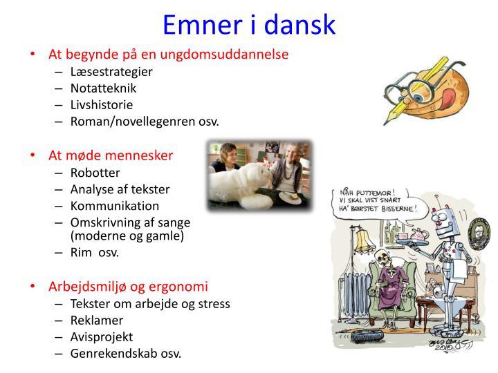 Emner i dansk