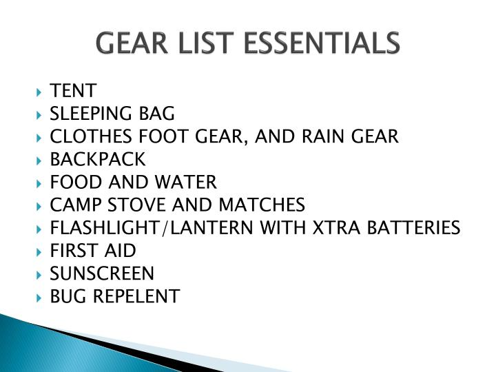GEAR LIST ESSENTIALS