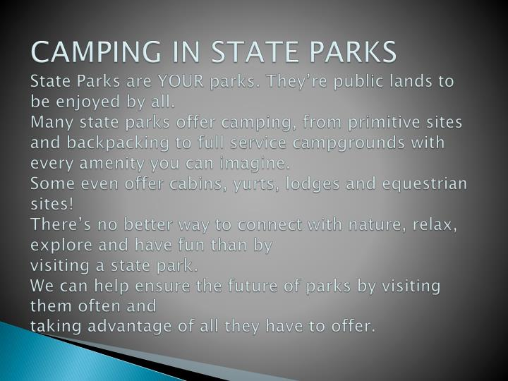 CAMPING IN STATE PARKS