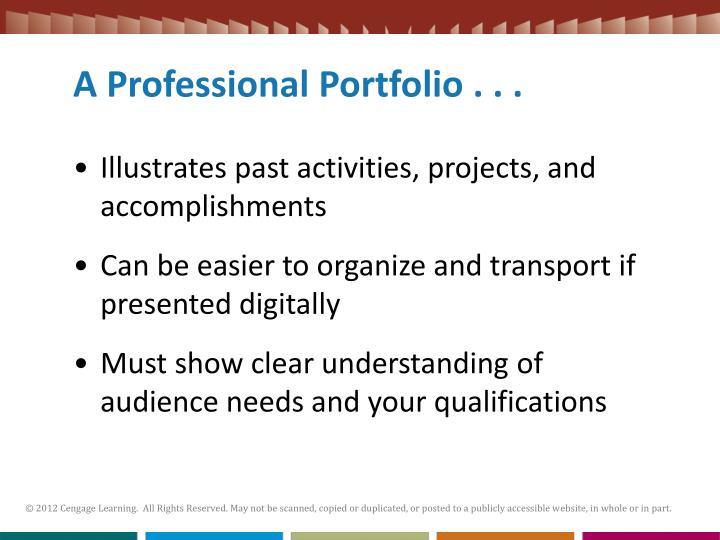 A Professional Portfolio . . .