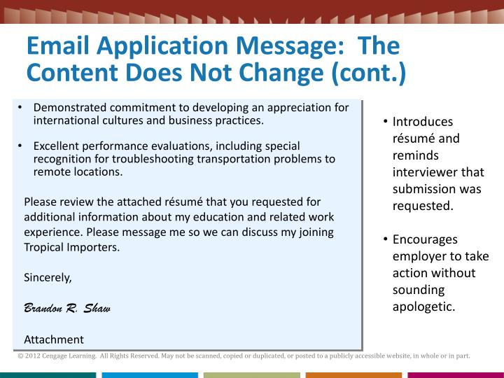 Email Application Message:  The Content Does Not Change (cont.)