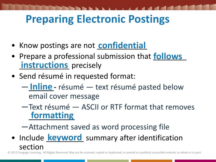 Preparing Electronic Postings