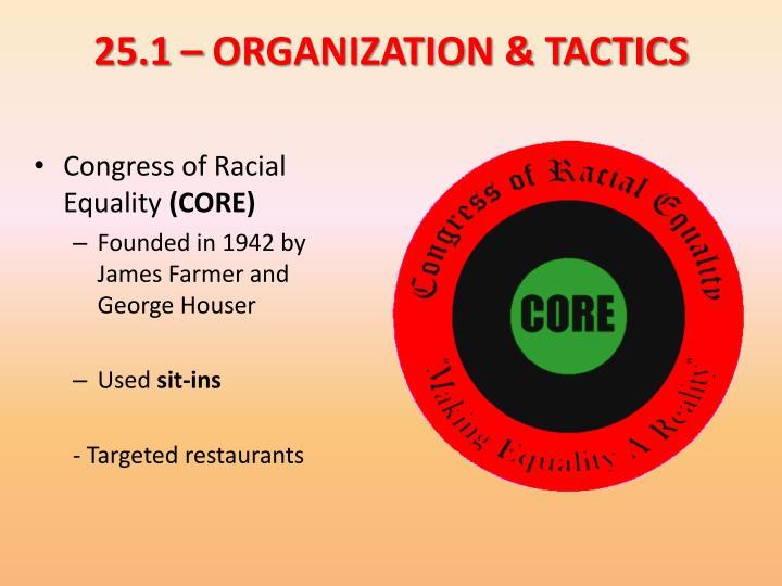 25.1 – ORGANIZATION & TACTICS