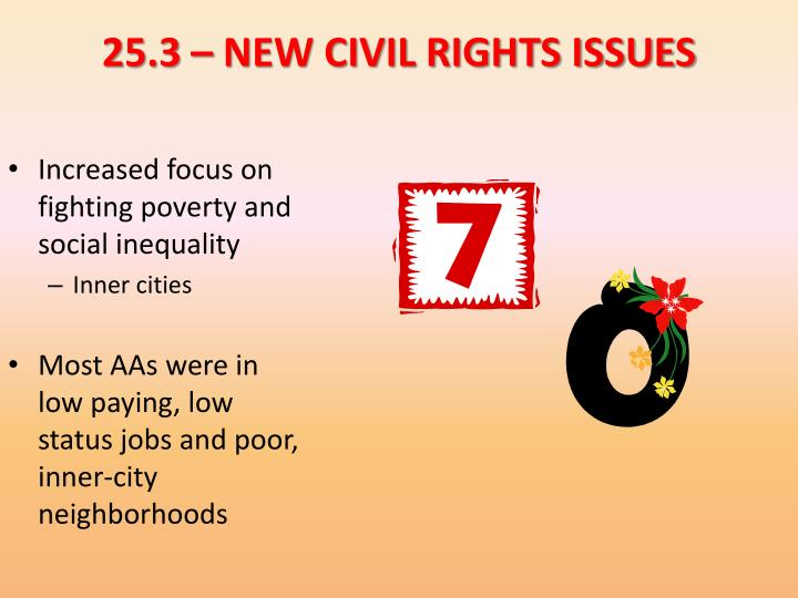 25.3 – NEW CIVIL RIGHTS ISSUES