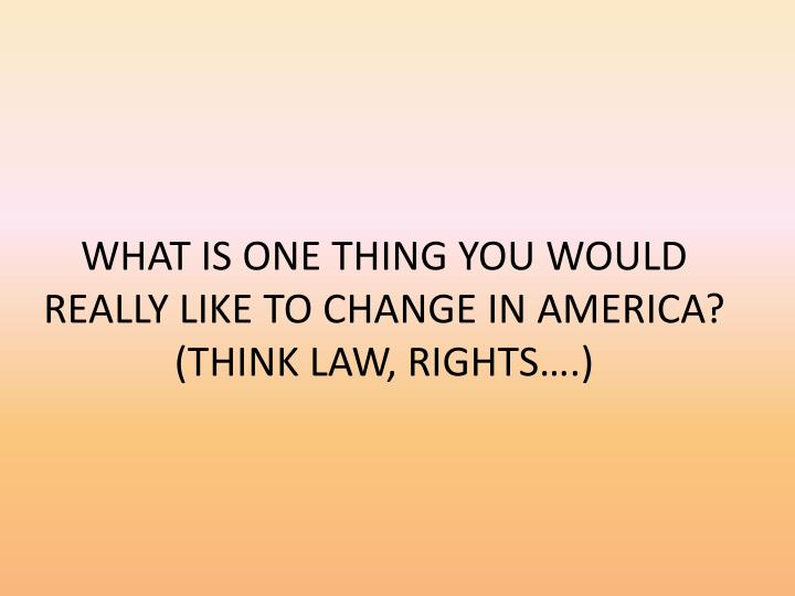 WHAT IS ONE THING YOU WOULD REALLY LIKE TO CHANGE IN AMERICA?