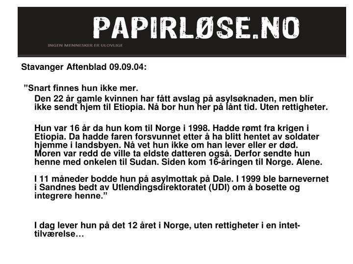 Stavanger Aftenblad 09.09.04: