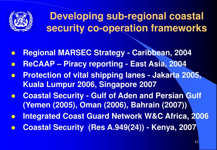 Developing sub-regional coastal security co-operation frameworks