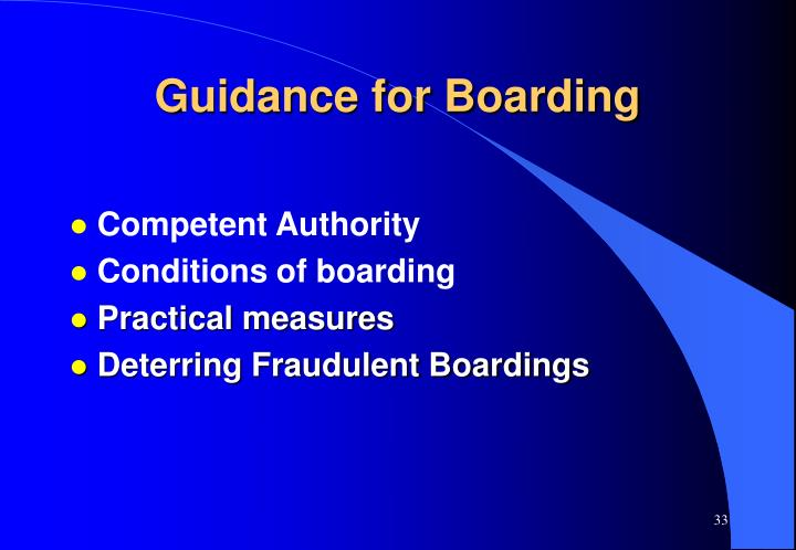 Guidance for Boarding