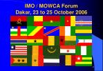imo mowca forum dakar 23 to 25 october 2006