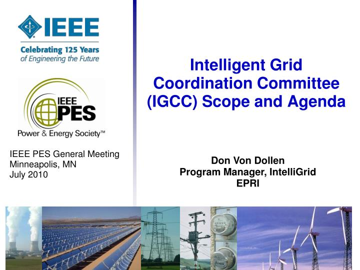 Intelligent grid coordination committee igcc scope and agenda