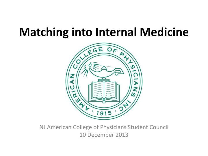 Matching into internal medicine