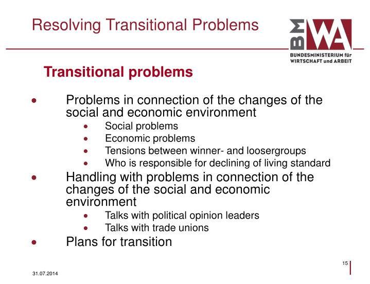 Resolving Transitional Problems