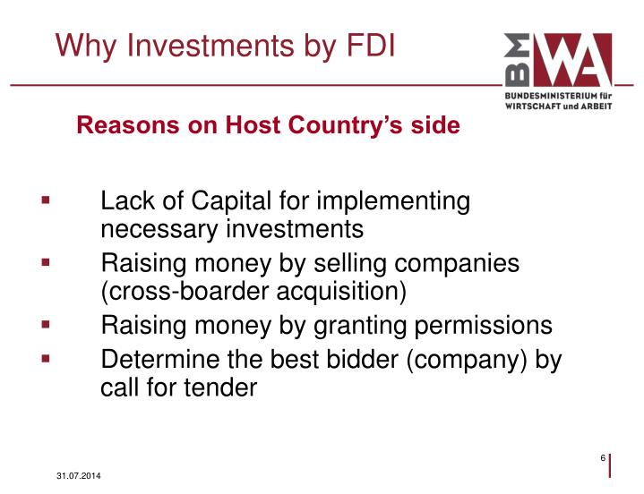 Why Investments by FDI