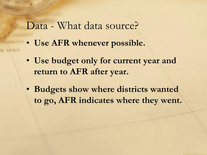 Data - What data source?