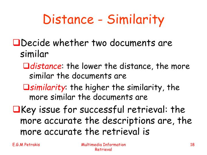 Distance - Similarity