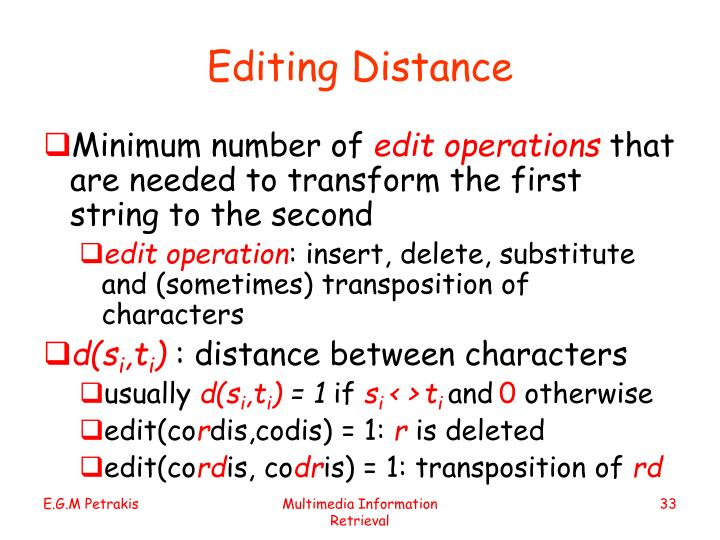 Editing Distance
