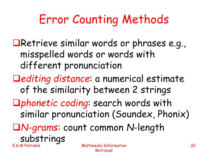 Error Counting Methods