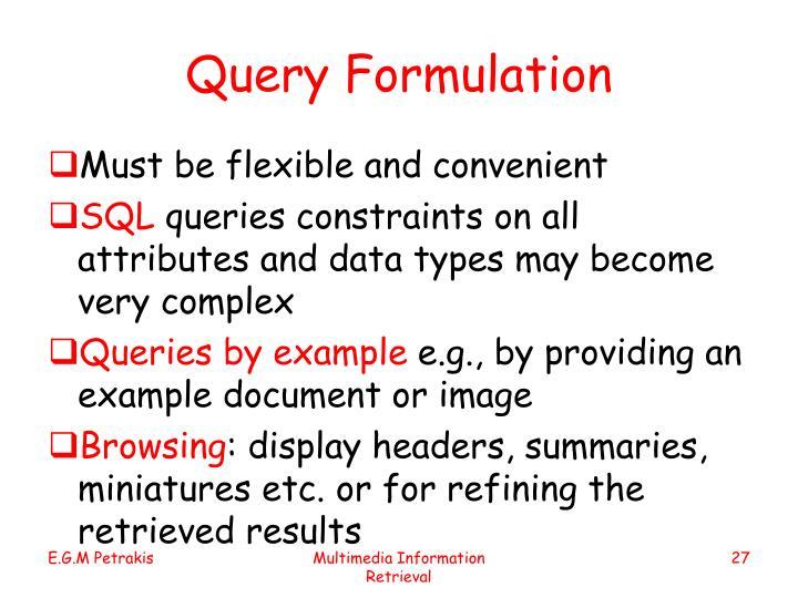 Query Formulation